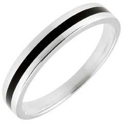 Wedding Ring gold Men - Clair Obscure - One line - white gold and black lacquer - 18 carat