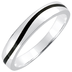 Wedding Ring Men Clair Obscure - Curve - white gold and black lacquer - 18 carat