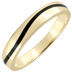 Wedding Ring Men Clair Obscure - Curve - yellow gold and black lacquer - 9 carat