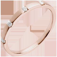 Wedding Ring - Pink gold - 4 diamonds