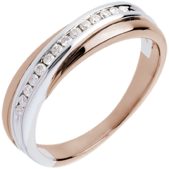 Wedding Ring - Pink gold and white gold channel setting - 14 diamonds