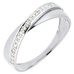 Wedding Ring Saturn Duo - diamonds - white gold - 9 carat