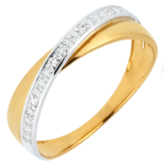 Wedding Ring Saturn Duo - diamonds - yellow and white gold - 9 carat