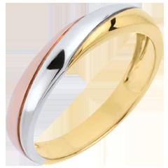 Wedding Ring Saturn Trilogy - three golds - 9 carat