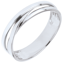 Wedding Ring Saturn Trilogy variation - white gold - 18 carat