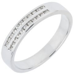 Wedding Ring - White gold half-paved - channel setting 2 rows