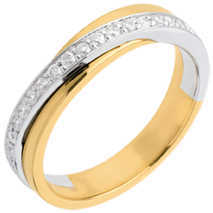 Wedding ring yellow gold-white gold semi-paved - 17 diamonds