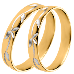 Wedding rings Duo d'alliances Freshness - Engraved ivy - Yellow gold - 18 carats
