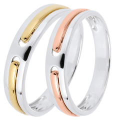 Wedding Rings Duo Promise - all gold - yellow and pink gold