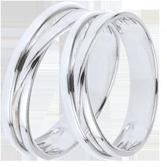 Wedding Rings Duo Saturn Trilogy variation - White gold - 9 carats