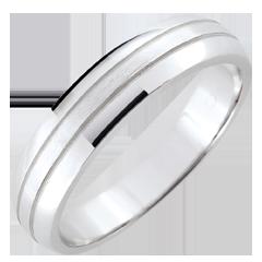 Weddingring men Cronos - brushed white gold - 18 carat