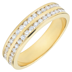 Weddingring yellow gold semi paved - rail setting 2 rows - 0.32 carat - 32 diamonds - 18 carat