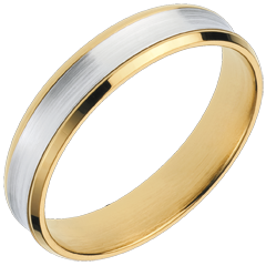 White and Yellow Gold Dandy Ring - 4mm