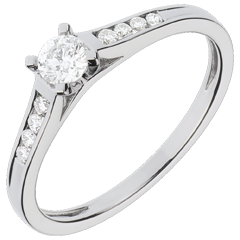White Gold Altesse Side Stone Rings - 0.31 carats - 9 Diamonds - 9 carat