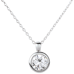 White Gold Doll Solitaire Necklace - 1 diamond : 1.5 carat