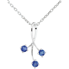 White Gold Heart-shaped Sparkles Pendant with Sapphires