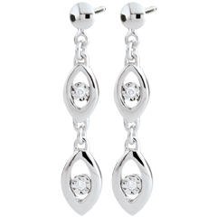 White Gold Peacock Charm Earrings