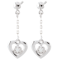 White Gold Pendulum Heart Earrings