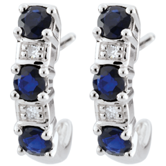 White Gold Sapphire Clarisse Creole Earrings
