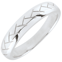 White Gold Weave Wedding Band - 9 carats