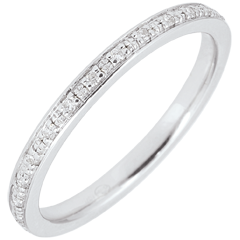 White Gold Wedding Band, fully encrusted with diamond beads