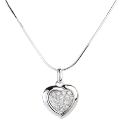 White Sweetheart Pendant - 18 Diamonds