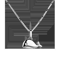 Wielorybek - duży model - złoto białe 18-karatowe