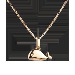 Wielorybek - duży model - złoto żółte 18-karatowe
