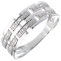 Woven ring white gold paved - 6 diamonds