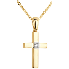 Yellow Gold and Diamond Cross Pendant