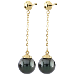 Yellow Gold Aura Pearl Earrings
