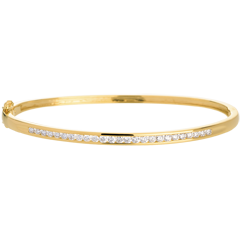 Yellow gold bangle/bracelet - 0.75 carat - 25 diamonds