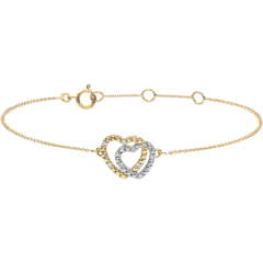 Yellow Gold Diamond Bracelet - Consensual Hearts - 9 carats