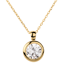 Yellow Gold Doll Solitaire Necklace