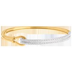 Yellow Gold Double union bangle/bracelet - 0.32 carat - 54 diamonds