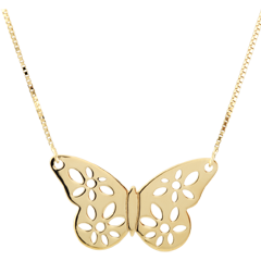 Yellow Gold Filigree Butterfly Necklace