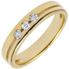 Yellow Gold Olympia Trilogy Wedding Band - Small Model - 18 carats