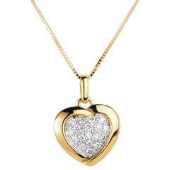 Yellow Sweetheart Pendant - 18 Diamonds