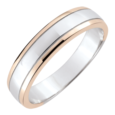 code promo f841b 9bd7b Alliance homme Horizon - or blanc et or rose 18 carats