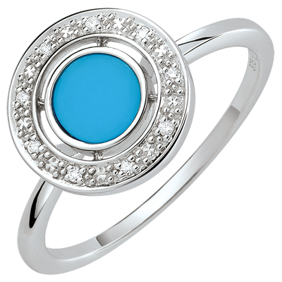 bague or blanc turquoise