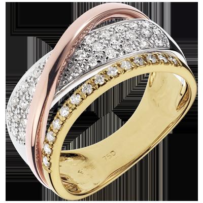Bague Royale Saturne , trois ors 18 carats