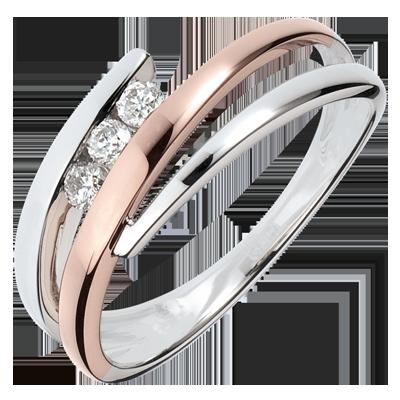 bague or blanc diamant rose