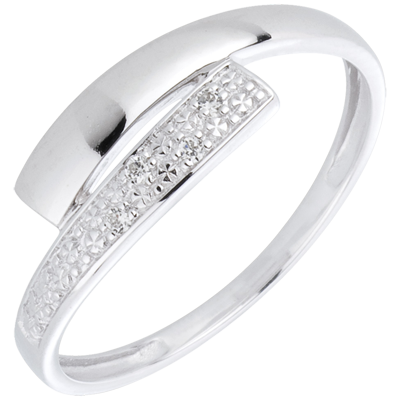 Bague Lumiere Or Blanc 18 Carats Diamants Bijoux Edenly