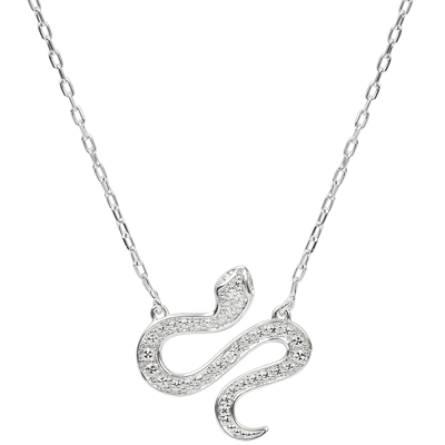 Collier Serpent - Or blanc 9 carats - Diamant - C2928