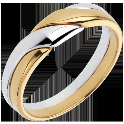 Fede Nuziale Oro Bianco E Oro Giallo 18 Carati C1011