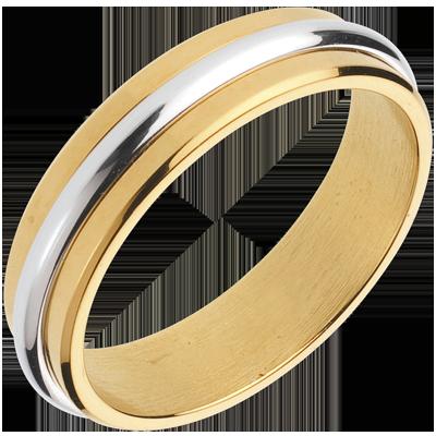 Fede Nuziale Oro Bianco E Oro Giallo 18 Carati C1018